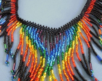 Rainbow Necklace Beaded DIVERSITY Fringed Beadwork Colorful Necklace GLBT Pride