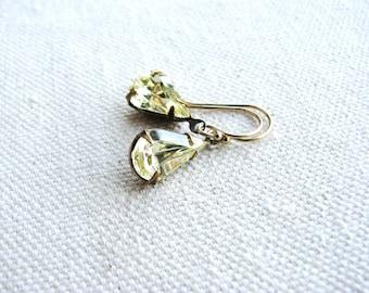 Glass Jewel Earrings Vintage Cut Gems Pale Yellow Jonquil Diamond Tear Drop Estate Style Minimalist Modern Bridal Jewelry Sparkly