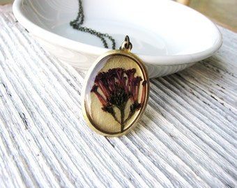 Purple Floral Necklace Pressed Flower Necklace Botanical Jewelry Dried Preserved Plant Resin Purple Keys of Heaven Naturalist Garden Gift