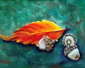 Autumn Painting, Autumn Leaves, Original Oil Painting, Fall Painting, Fall Leaves, Acorn Painting, Helen Eaton