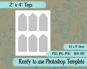 """Scrapbook Digital Collage Photoshop Template, 2"""" x 4 """" Tags"""