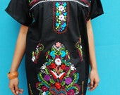 Mexican Black Mini Dress VERY FINE EMBROIDERED Handmade Elegant and comfortable Large X Large