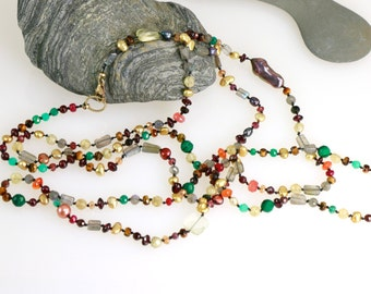 Long Gemstone Rope Necklace, Knotted Pearls and Gems, Knotted Silk, Elegant Long Necklace, Emerald, Pearl, Ruby, Garnet, Birthstone, Tripled