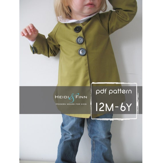Chic Everyday Coat pattern and tutorial PDF 12M-6T easy sew epattern jacket