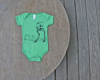 Star Wars AT-ST Walker / American Apparel Grass Green Baby Onesie / Hipster baby gift