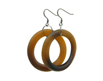 Brown Big Hoop Earrings From Beer Bottles Recycled Glass Jewelry Big Hoop Earrings Beer Bottle Jewelry Matte Brown Gifts Under 25 Dollars