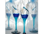 Blue Dragonfly Wedding Flute Glasses Hand Painted Glassware ~ Pair