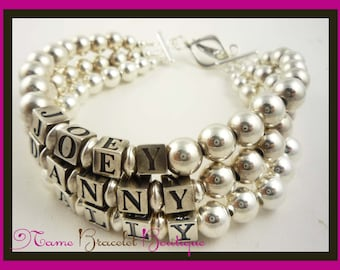 Mothers Bracelet / custom Child Name and Mom Bracelet - personalized - sterling silver