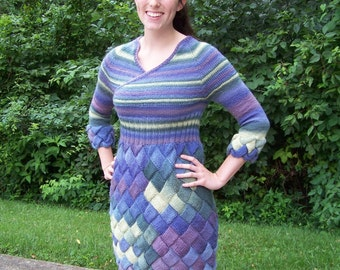 Dress designer hand knitted one of a kind ready to ship size small 8 long sleeve blue strip short warm pretty dress