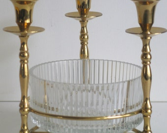 Brass and Glass Candlesticks Candelabra with Glass Centerpiece Candle Holder