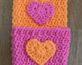 Crocheted Heart  Cup Cozy/ Crochet Cozy with Heart/ Crocheted Tumbler Cozy/ Pink Orange Cozy