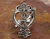 ERZULIE DANTOR RING - Sterling Silver Voodoo Veve Lwa Vodou - Made To Order in Your Size