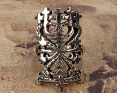 MAMAN BRIGITTE RING - Sterling 925 Silver Voodoo Veve Lwa Vodou - Made To Order in Your Size