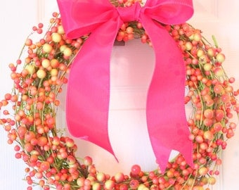 12 inch green, pink, and coral berry wreath with wired bow
