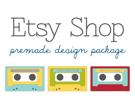 Etsy Shop Banner Avatar Set - Etsy Premade Design Store Package - Cassette Back in Style - Vintage Classic Store