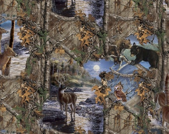 Realtree Camo Fabric by the Yard - 100% Cotton Fabric - Moonlight Night Print 9940 - Bears Deer Owl