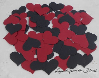 Valentine Love Black, Red Hearts Cardstock Die Cuts Set of 5 dozen embellishments for cards confetti scrapbooks tags