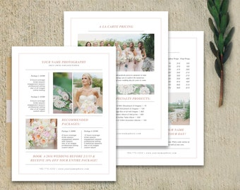 Photography Marketing - Photography Pricing Template - Marketing Set - Pricing Guide Templates - Photographer Price List - Wedding Pricing