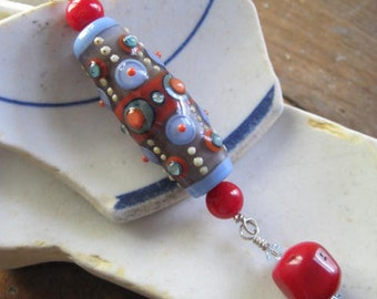 Intricate Lampwork and CORAL Necklace