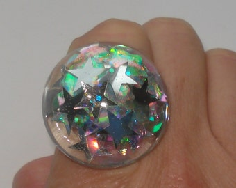 Disco diva silver stars glitter bubble ring