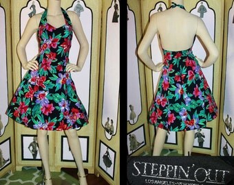 Vintage 90's Hawaiian Halter Dress in Black with Red and Green Floral. Small