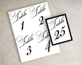 Instant download PDF, digital DIY table number template, printable reception table numbers, black and white wedding table card, numbers 1-40