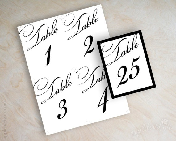 Items similar to instant download pdf digital diy table number template printable reception for Free wedding table number template