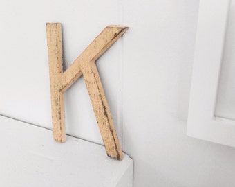 """Metal Letter K - cast iron 5"""" tall - yellow"""