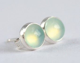 aqua chalcedony 6mm sterling silver stud earrings