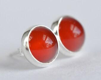 red carnelian 8mm sterling silver stud earrings pair