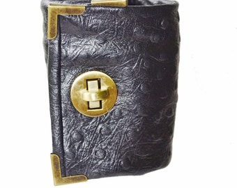 Wrist Cuff Wallet -  Worn like a Bracelet in Black ostrich embossed Leather