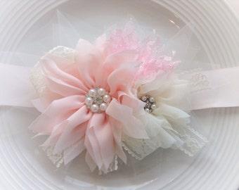 Pink and ivory bridesmaid bridal sash