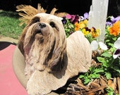 Vintage Large Dog Figurine Lhasa Apso Sandicast Figurine  Adorable  Large Dog Statue