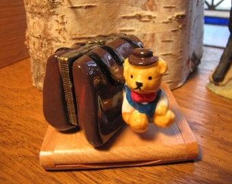 Adorable Teddy Bear Suitcase Trinket Box - Vintage  Bear Trinket  Box