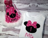 Personalized Minnie Mouse Birthday Shirt or Onesie and Birhtday Hat