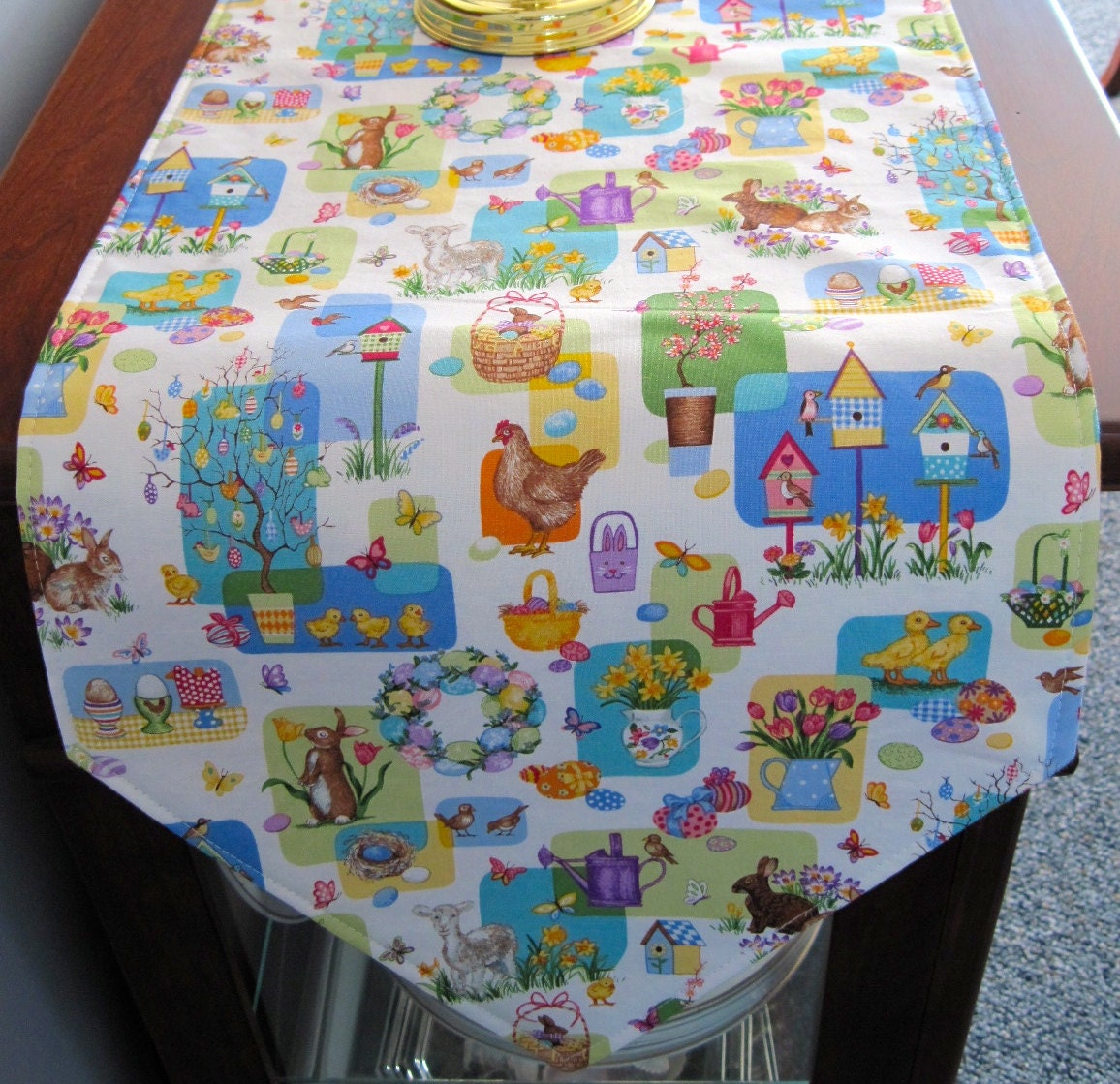 cute easter table runner 54 reversible easter eggs table. Black Bedroom Furniture Sets. Home Design Ideas