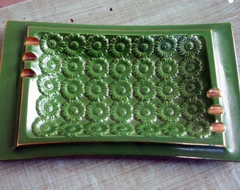 Vintage 1960s-70s Green and Gold Floral Ashtray