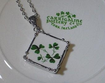 "Shamrocks and Clover Irish Carrigaline ""Broken China Jewelry"" Diamond Pendant Embellished Necklace"