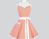Sweetheart Retro Womans Apron / Cute Fall or Halloween Apron in Vintage Tangerine Orange White Polka Dot Flirty Full Handmade Womens Aprons