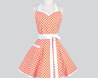 Sweetheart Retro Womans Apron / Cute Kitchen Cooking Apron in Vintage Tangerine Orange White Polka Dot Flirty Full Handmade Womens Aprons