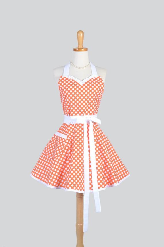 Sweeetheart Retro Apron . Womens Apron in Cute Tangerine Orange and White Dots Super Cute