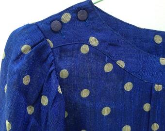Vintage Midnight Blue Blouse Polka Dots