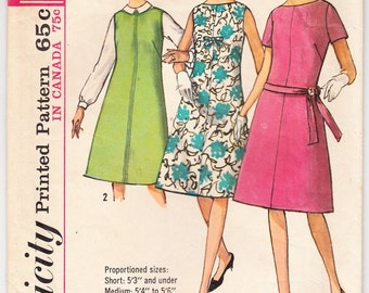 Vintage 1963 Simplicity 5272 Sewing Pattern Misses' One Piece Dress or Jumper on Proportioned Sizes Size 10 Bust 31