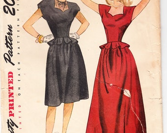 Vintage 1946 Simplicity 1820 Sewing Pattern Teen-Age Daytime and Evening Dress Size 12 Bust 30