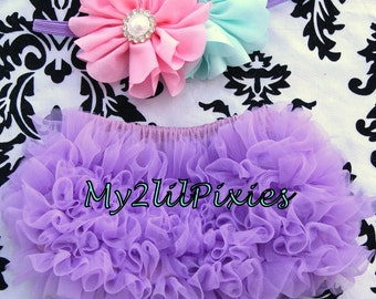 BLOOMER and HEADBAND -Chiffon ruffle Bum Baby Bloomer, Diaper Cover, Ruffle Panties, Purple Bloomer, Ruffle Diaper cover, Headbands