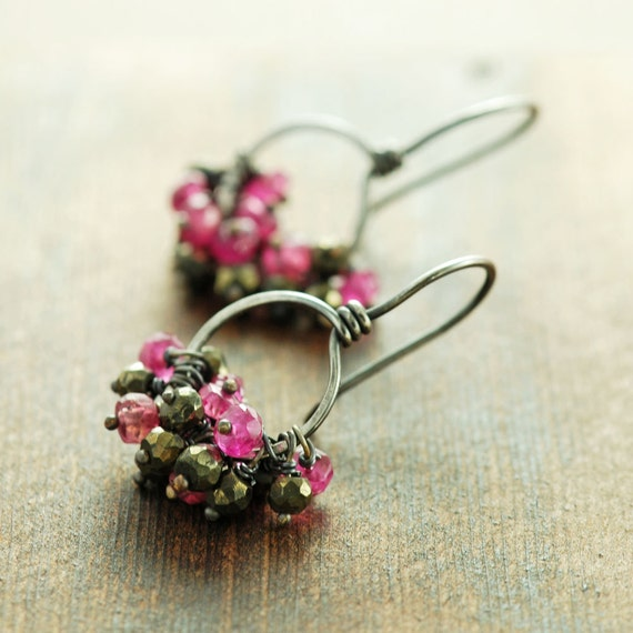 Pink Sapphire Cluster Earrings, September Birthstone Sterling Silver Hoop Earrings, Pyrite Rustic Modern Jewelry