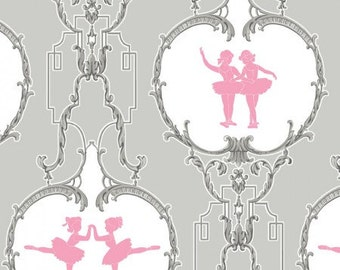 Arabesque Pirouette Grey CF2303-2 Cotton Fabric by Anna Griffin  REMNANT