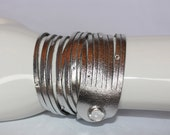 Petite Silver Leather Metallic Doublewrap Cuff with Swarovski Crystals