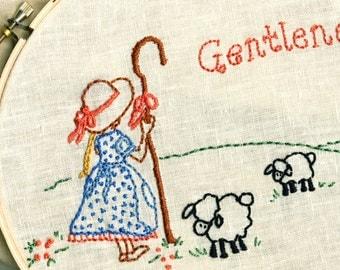 Shepherd Girl Embroidery PDF - Gentleness