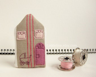 Tiny HOUSE brooch. Pink cream and oatmeal with baby pram. Baby shower gift.